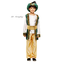 Çocuk erkek arap prens Cosplay Boy Aladdin prens cadılar bayramı kostüm çocuklar için karnaval doğum günü partisi noel