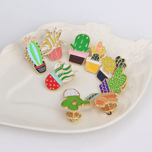 Hot Sale 9 Style Green Plants Rose Flower Cactus Enamel Brooch Pins Collar Clothes Hat Decoration Brooches Button Pin