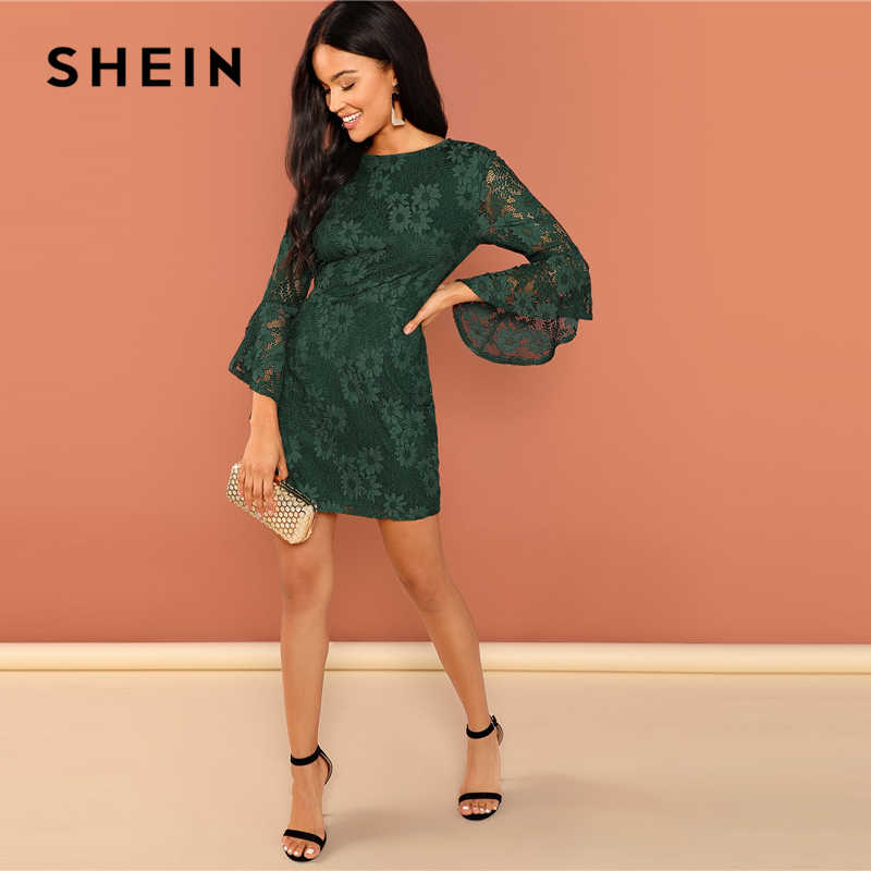 620632b4a2 ... SHEIN Green Going Out Round Neck Flounce Sleeve Guipure Lace Sheer  Zipper Slim Bodycon Dress 2018 ...