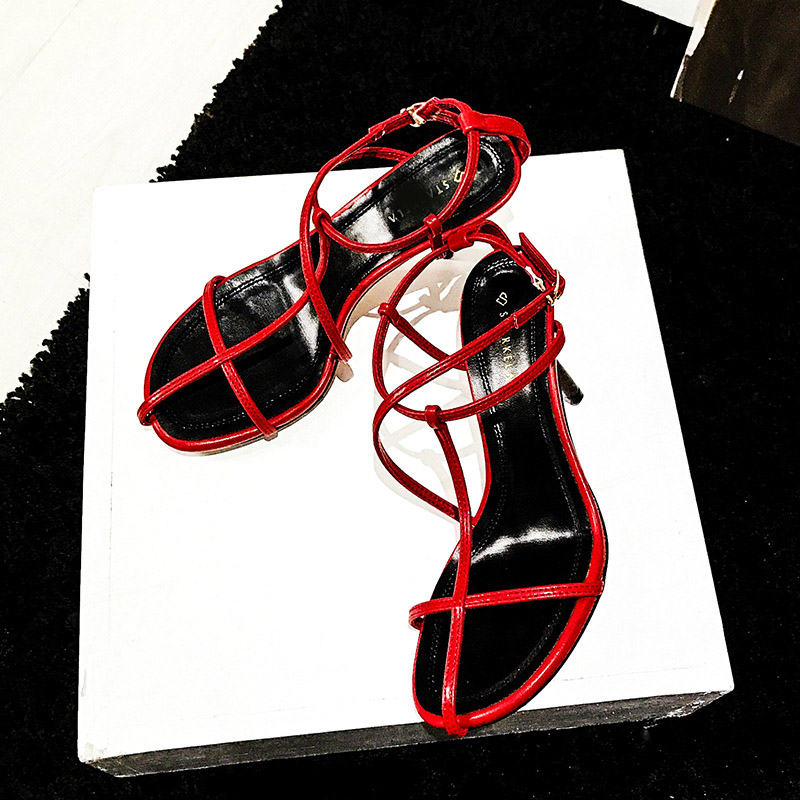 EARTH <font><b>STAR</b></font> <font><b>2018</b></font> New Shoes Women Fashion Brand High Heel Sandals <font><b>Sexy</b></font> <font><b>Lady</b></font> chaussure Cross-tied Summer Female footware Breathable image