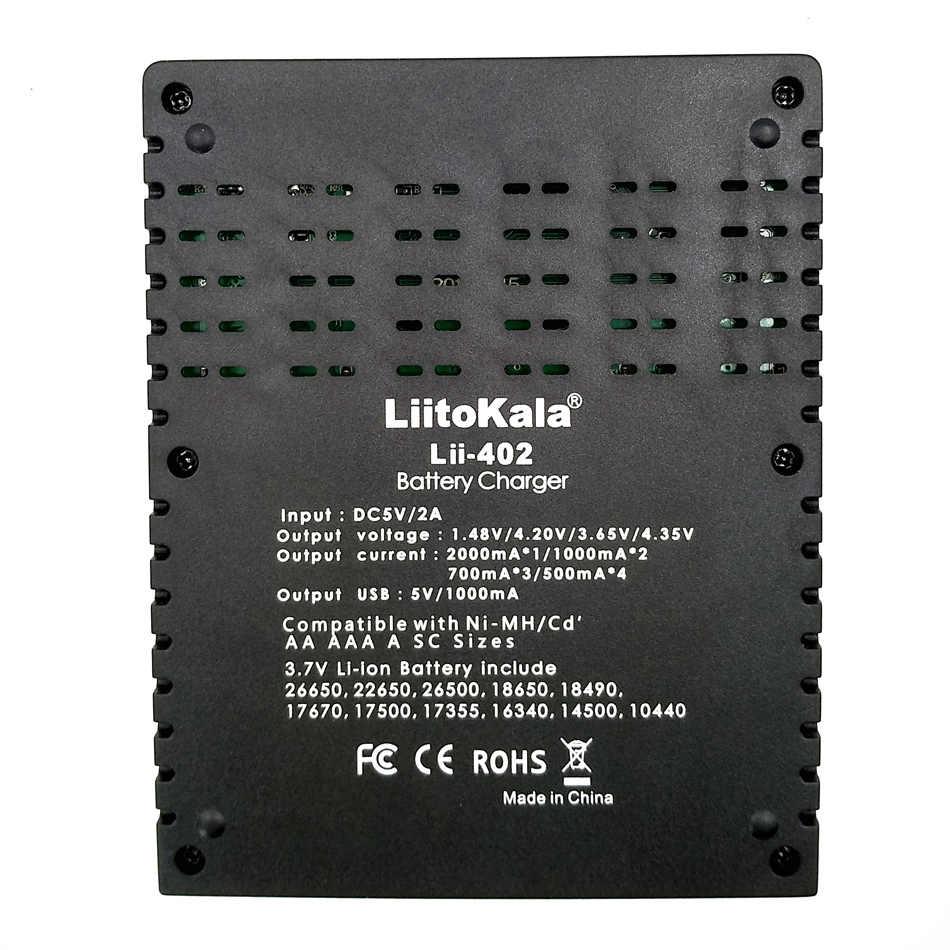 Умное устройство для зарядки никель-металлогидридных аккумуляторов от компании LiitoKala: Lii-100 Lii-202 Lii-402 1,2 V 3,7 V 3,2 V 3,85 V зарядное устройство для никель-кадмиевых или никель-металл-AAA 18650 18350 26650 10440 18350 никель-металл-гидридного Батарея интеллигентая (ый) Каррегадор