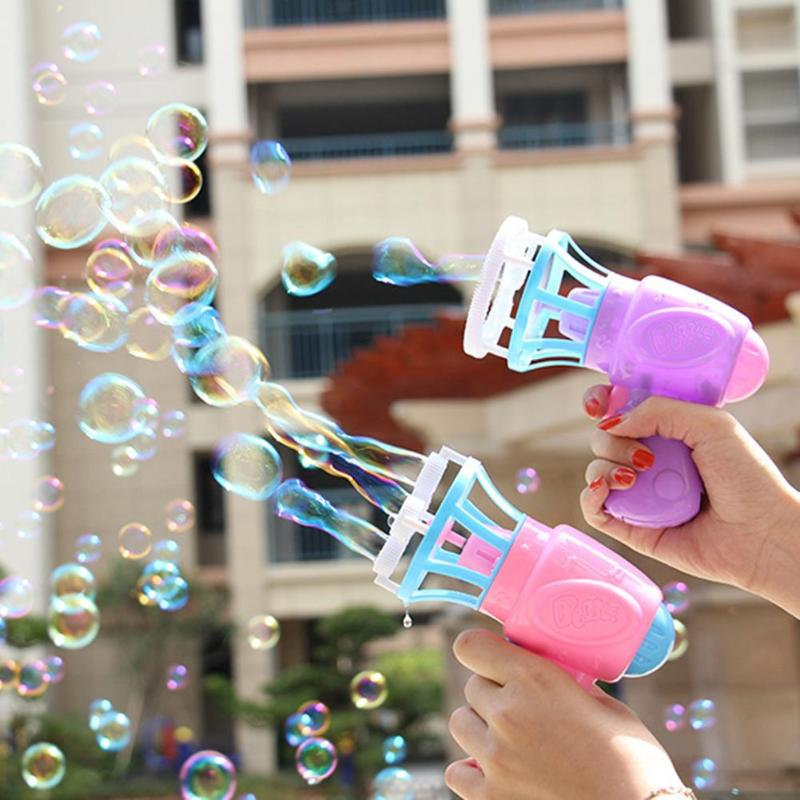 Bubble Blower Machine Electric Automatic Bubble Maker Gun With Mini Fan Kids Outdoor Swimming Bathtub Soap Machine Water Toys