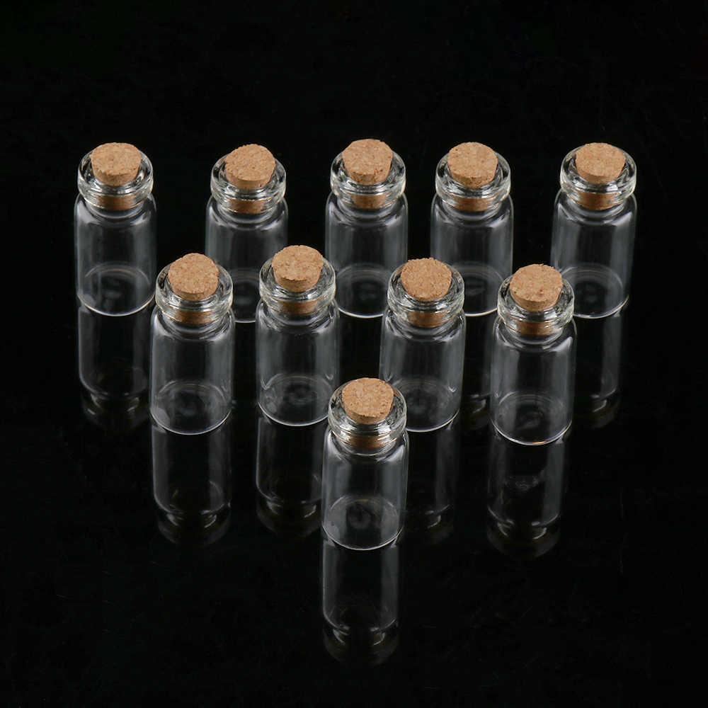 10 Uds. Mason Jar botellas deseo pequeño tapón de corcho de Vacío claro pequeños deseos frascos de vidrio para boda fiesta decoración del hogar