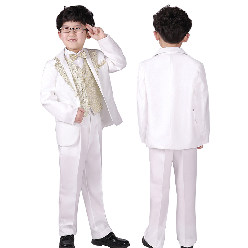 Boys White Wedding suit Kids 6 pieces Blazers Jackets set Child Stage Costumes Baby clothes Gold Silver Tuxedo suits
