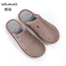 Whoholl 2019 New Genuine Leather Home Slippers High Quality Women Men Plush Warm Indoor Shoes Plus Size 36-44