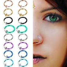 2 Pcs Fake Clip on Spring Nose Septum Ring Earring Non Piercing Unisex Jewelry Women Girl Simple Round Circle Small Ear Stud(China)
