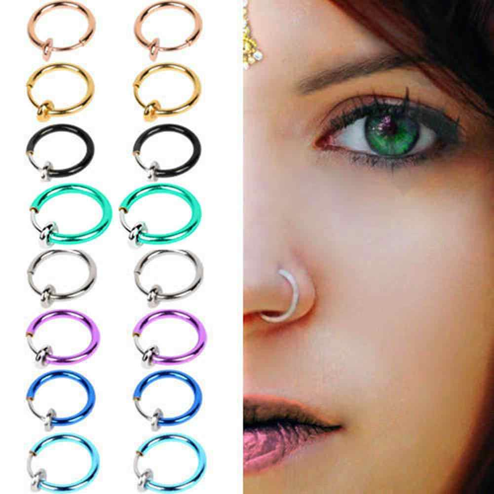 2 Pcs Fake Clip on Spring Nose Septum Ring Earring Non Piercing Unisex Jewelry Women Girl Simple Round Circle Small Ear Stud