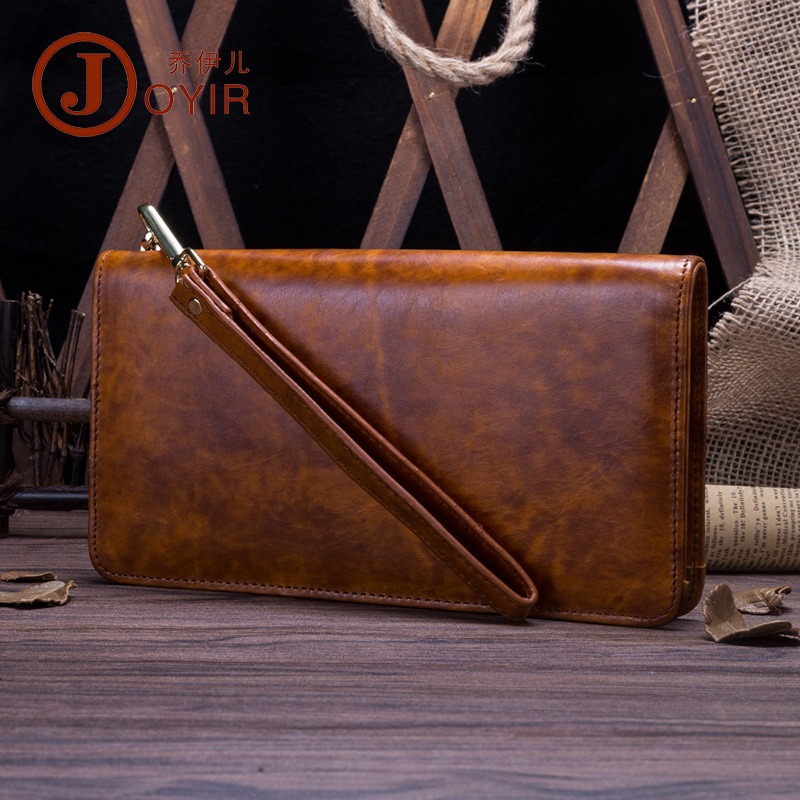 2018 Genuine Leather Men Wallets New Man Wallet Safe Zipper Men Purse Fashion Male Long Wallet with Wrist Strap Man's Clutch Bag new bag strap chain wallet handle purse acrylic resin strap chain strap replaced bag strap bag spare parts