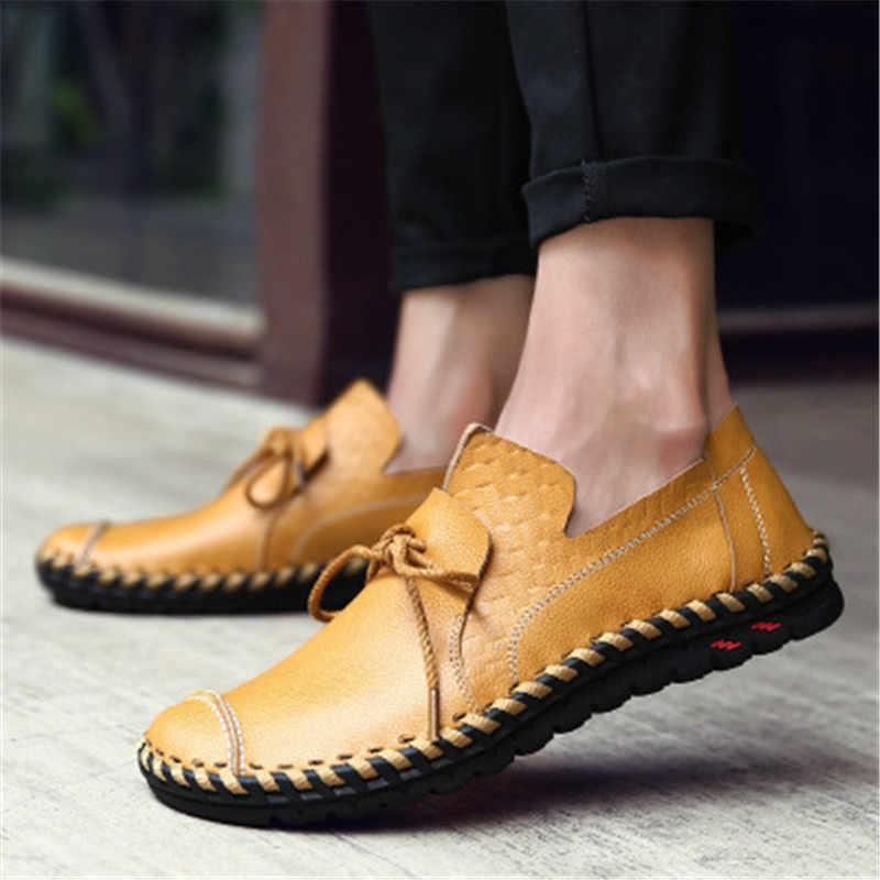 Nieuwe Britse Stijl Casual Mannen Loafers Schoenen Lente Herfst Echt Leder Slip Op mannen Flats Footwear Plus Size 38 -46 schoenen