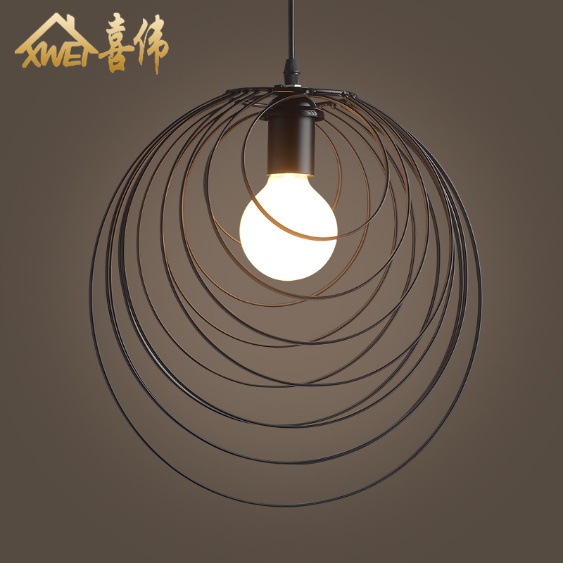American Loft Iron Pendant Lamp Retro Bar Cafe Living Room Dining Room Industrial Wind Iron Circle Pendant Lamp