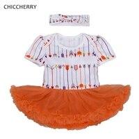 Turuncu Baskı Kız Bebek Giysileri Toddler Dantel Romper Elbise Yay Bandı Seti Vestido De Bebe Bebek Doğum Günü Partisi Tutu Kıyafetler