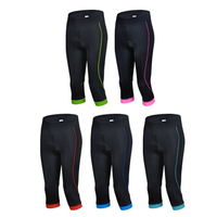 2014 Black Pink Cycling Women Pants 3 4Breathable Good Quality Farbic Wholesale Bike Pants