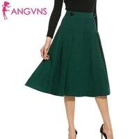 ANGVNS Dame Jupe Vintage Élégant Plissé A-ligne Big Swing Saia Longa Jupe Patineuse Femmes Casual Fit et Flare Jupes S, M, L, XL