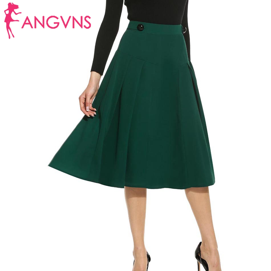 8df12ef0e6 ANGVNS Lady Skirt Vintage Elegant Pleated A-line Big Swing Saia Longa  Skater Skirt Women Casual Fit and Flare Skirts S,M,L,XL