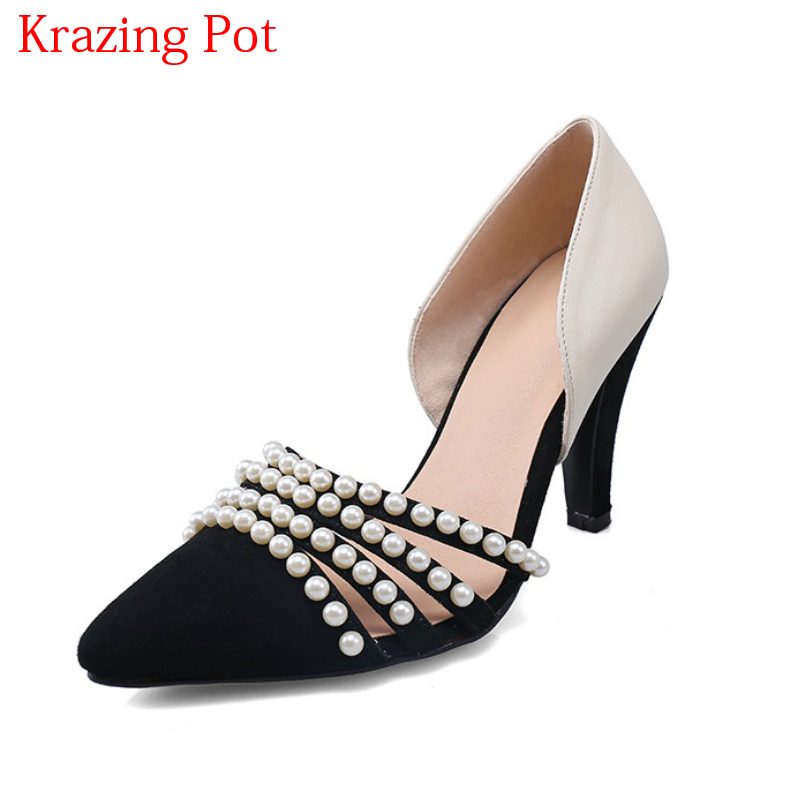 2018 Superstar Genuine Leather Mixed Colors High Heels Pearl Decoration Shallow Women Pumps Pointed Toe Brand Wedding Shoes L04