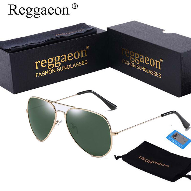 113b6027333 Raggaeon sunglasses Polarized 2018 man women pilot sun glasses metal frame  sliver mirror 62mm lens 3026 green G15