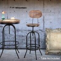 iKayaa Bar Chair Furniture Tools Industrial Bar Stool Morden Adjustable Swivel Pinewood Bar Stools Chair Kitchen Dining Chair