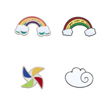 Cute Mini Brooch For Women And Kids Pin Rainbow Cloud Windmill Pins metal Icon Badge Jackets Sweater Hat Jewelry Christmas Gifts(China)