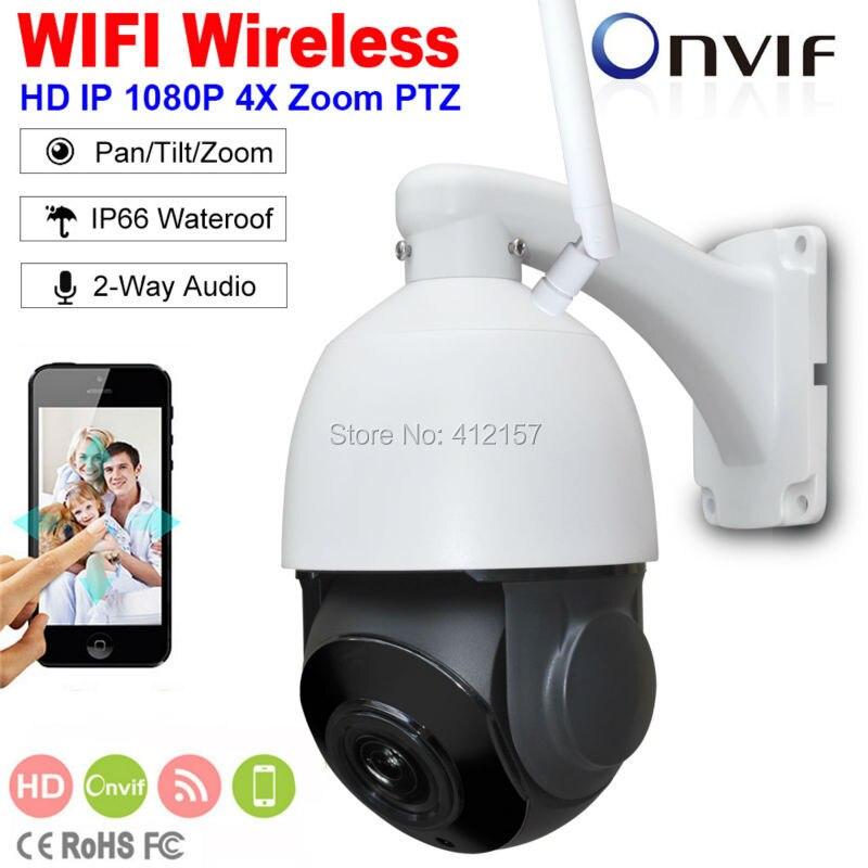 Sécurité extérieure FULL HD 1080 P Sans Fil IP Caméra 2-Way Audio 2MP 4 MINI WIFI Vitesse PTZ Caméra 4X ZOOM P2P Vue Mobile SD Carte
