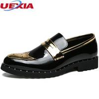UEXIA New Zapatos Hombre Brogue Men Shoes Leather Sapato Masculino Dress Platform Fashion Male Wedding Flats