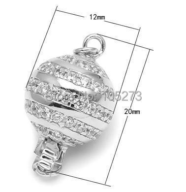 Avec fermoir boule en zirconium, collier 12mm 925 argent bricolage en cristal de perle naturelle de haute qualité, fermoir bracelet. -L59C - 2