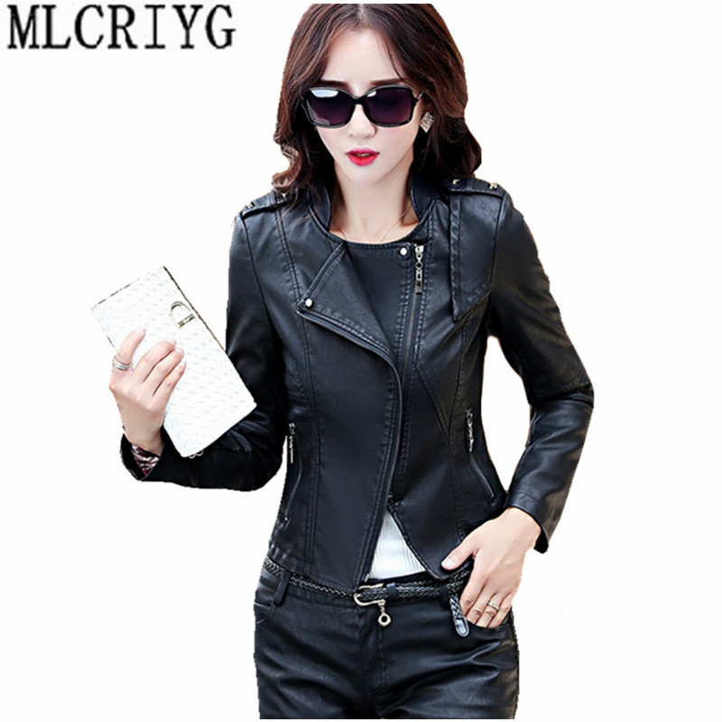 Motorcycle PU   Leather   Jacket for Women New Autumn Coat Female Black Zipper Womens' Spring Jackets Outerwear chaqueta mujer YQ181