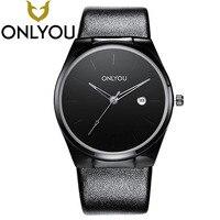 2017 ONLYOU Relógio Relógio de Quartzo dos homens de Negócios de Moda de Alta Qualidade de Vidro de Marcação Relógios de Couro Vendas Quentes Atacado