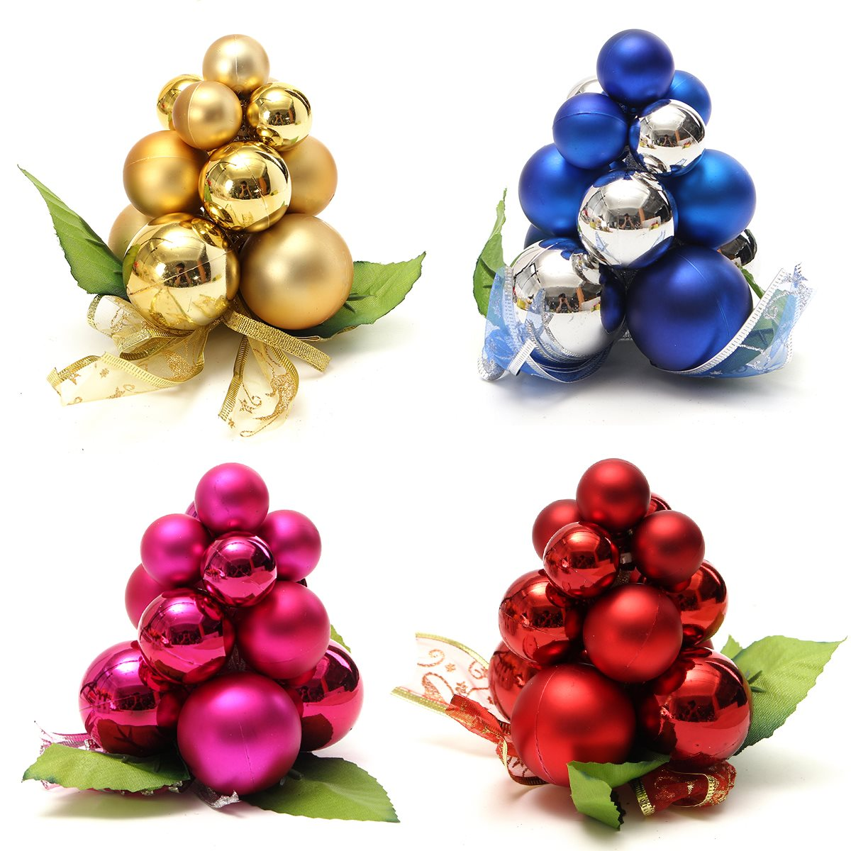 Miniature xmas tree ornaments - Christmas Grape Shape Ball String Ornaments Miniatures Christmas Tree Decoration For Home New Year Decorations Crafts