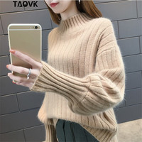 TAOVK lantern sleeve knitted Sweater pullover Women loose Turtleneck sweaters Female autumn solid color sweater jumpers