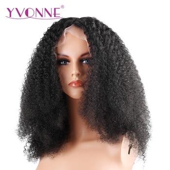 Ивонн 180% плотность афро вьющиеся кружева спереди человеческих волос парики для черные женские бразильский девственные волосы естественны...