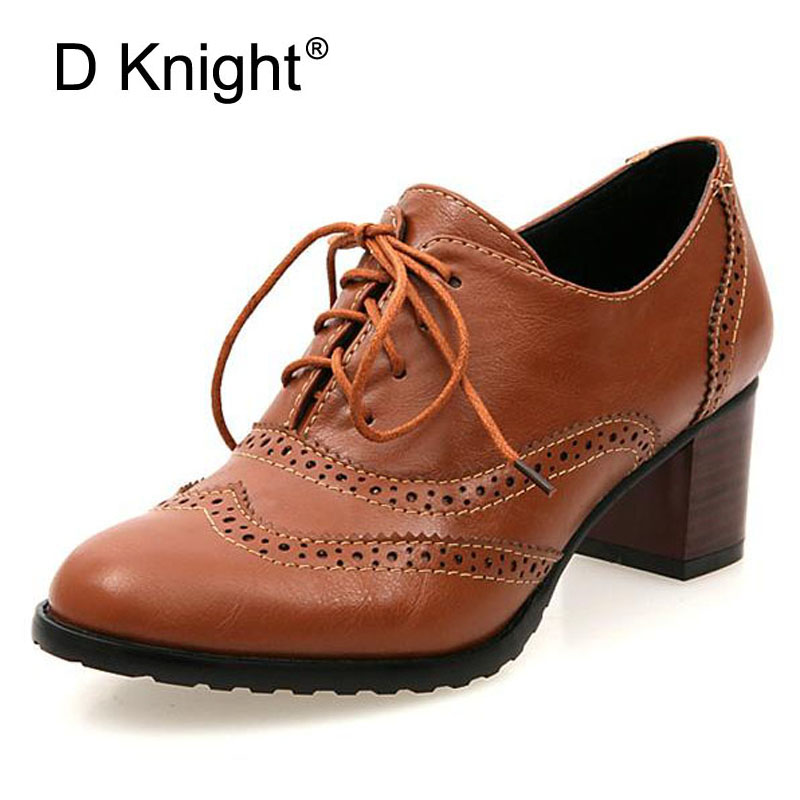 New Plus Size 34-43 Thick Heel High Heels Oxford Shoes For Women Fashion Vintage British Style Lace Up Women Pumps Shoes Woman beffery 2018 british style patent leather flat shoes fashion thick bottom platform shoes for women lace up casual shoes a18a309