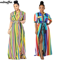 Plus Size Clothing For Women Striped Print Maxi Dresses Long Tshirt Dress Turn Down Collar Loose Robe Longue Femme Ropa Mujer