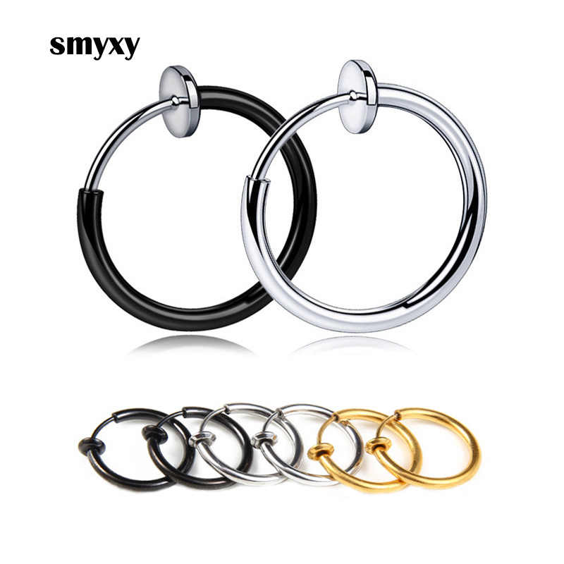 1 Pair Punk Mens/Womens Stealth Clip On Earrings NO Hole Clip Earrings ear Cuff Spring Clip Helix Ring Hoop Fake Ear Ring Hoop