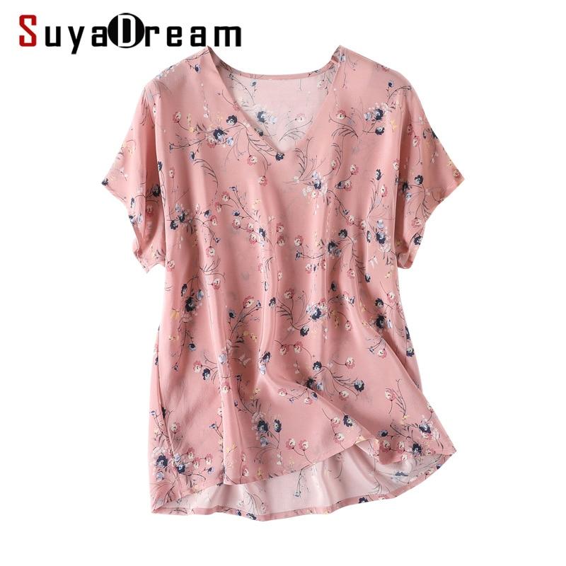 Women Floral Print Blouse 100 REAL SILK Crepe Short Sleeved Blouse Shirt V neck 2019 Spring