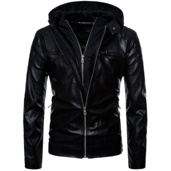 Mens Leather Jackets Hooded Male Tops Clothing Winter Coats Men Hoodie Casual Black PU Faux Leather Outerwear Biker Motorcycle