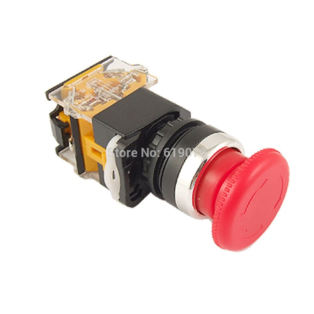 Red Sign Mushroom Push Button Emergency Stop Switch Twist Release 22mm 1 NO 1 NC LAY38