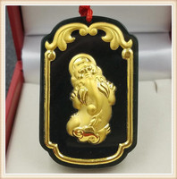 Natural hetian jade gold god beast pendant necklace ink jade good luck pendant men and women jewelry gifts
