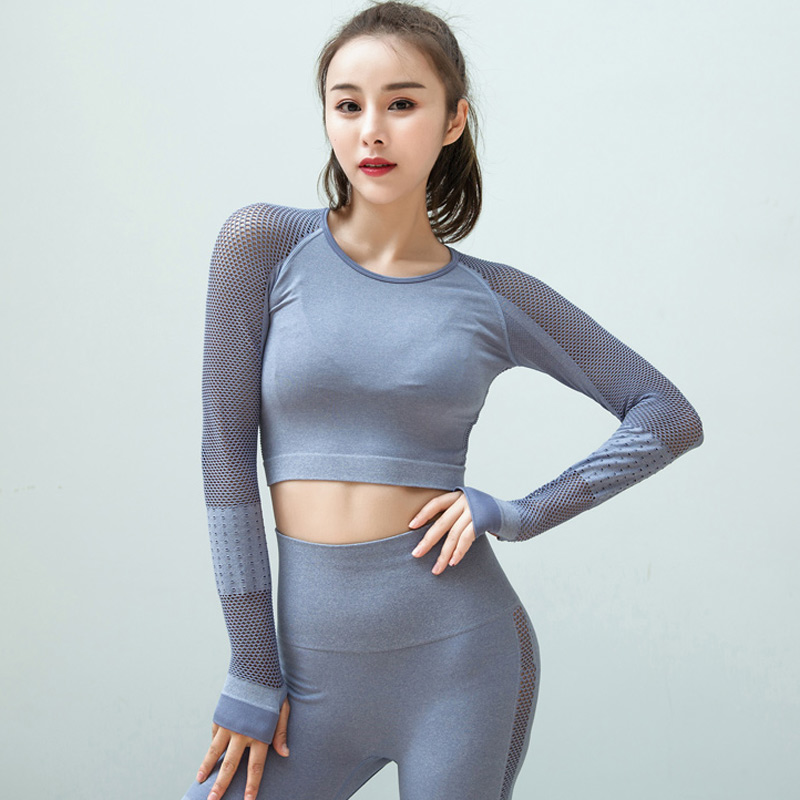 Elite Seamless yoga top workout tops for women long sleeve yoga shirts fitness gym crop top active sport shirts 1