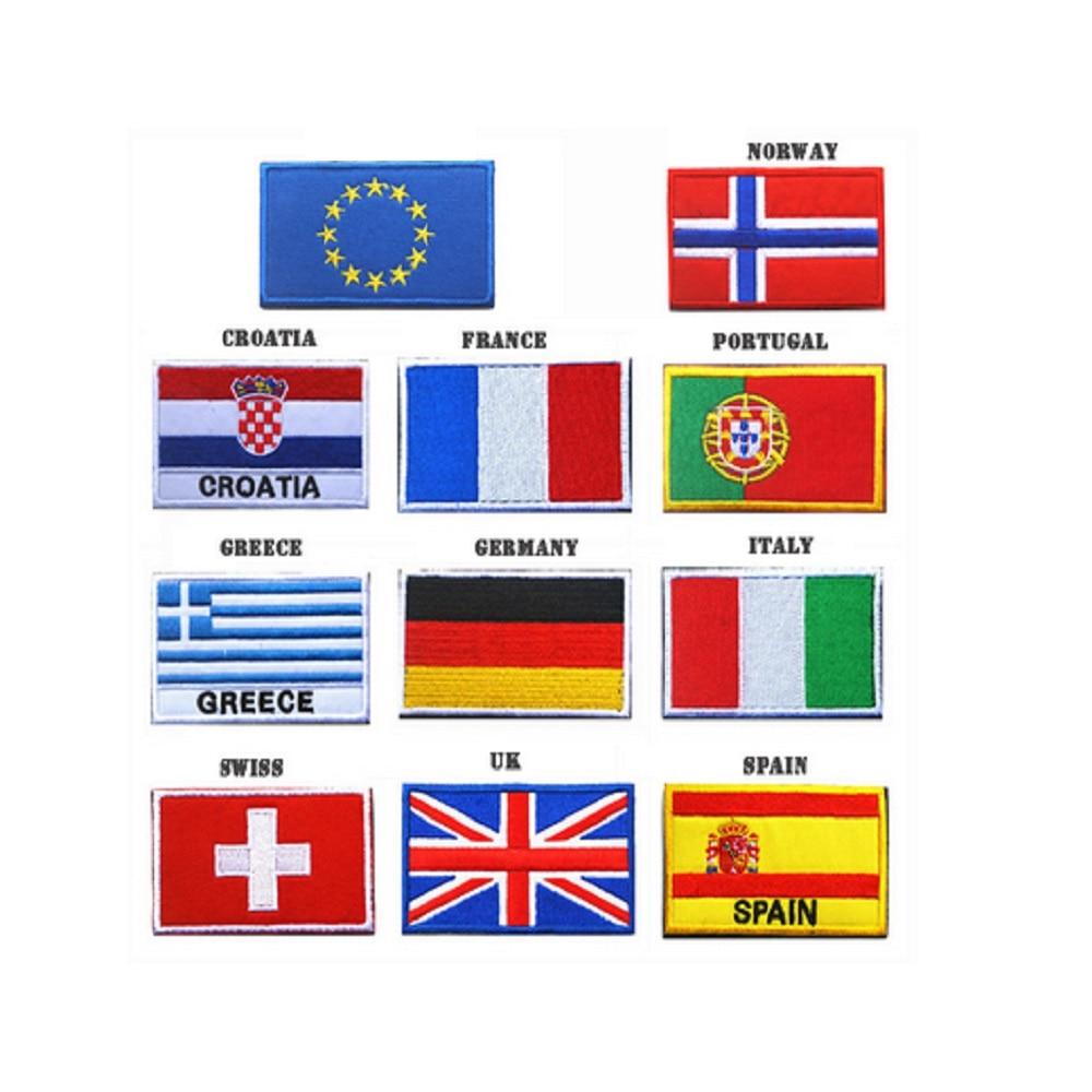 30 unids/lote 3D parches bordados miembro de la UE Iraq/Canadá/Italia/Gran Bretaña/Grecia/Brasil/Portugal/Alemania/Francia/España Parches de bandera 2-30 unids/lote 0,5 m/unids perfil de aluminio angular de 45 grados para 5050 3528 5630 tiras de LED blanco lechoso/canal de tira de cubierta transparente