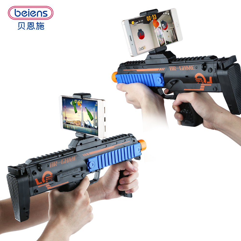 Beiens Fidget Toys VR AR Game Gun with Cell Phone Stand Holder AR Toy Game Gun with 3D AR Games for iPhone Android Smart Phone недорго, оригинальная цена