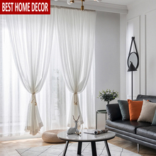 Elka Modern Linen Tulle Curtains for Living Room Bedroom Kitchen Window Voile Sheer Finished Curtain Solid Screening