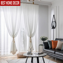 Elka Modern Linen Tulle Curtains for Living Room Bedroom Kitchen Window Voile Sheer Finished Curtain for Solid Window Screening(China)