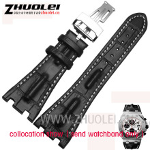 28 mm Fit For Audemarsblack brown gary Genuine Cowhide Leather Strap Band Folding Clasp For men