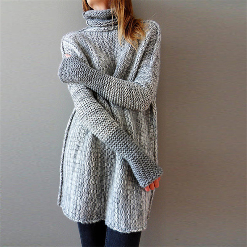 High Neck Long Sleeve Sweaters Women Autumn Winter Knitted Soft Jumpers Casual Woman Loose Pullover