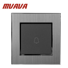 MVAVA 1 Gang Rest Doorbell Hotel EU UK Standard Silver Satin Metal Door Bell Panel Push Button Wall Switch