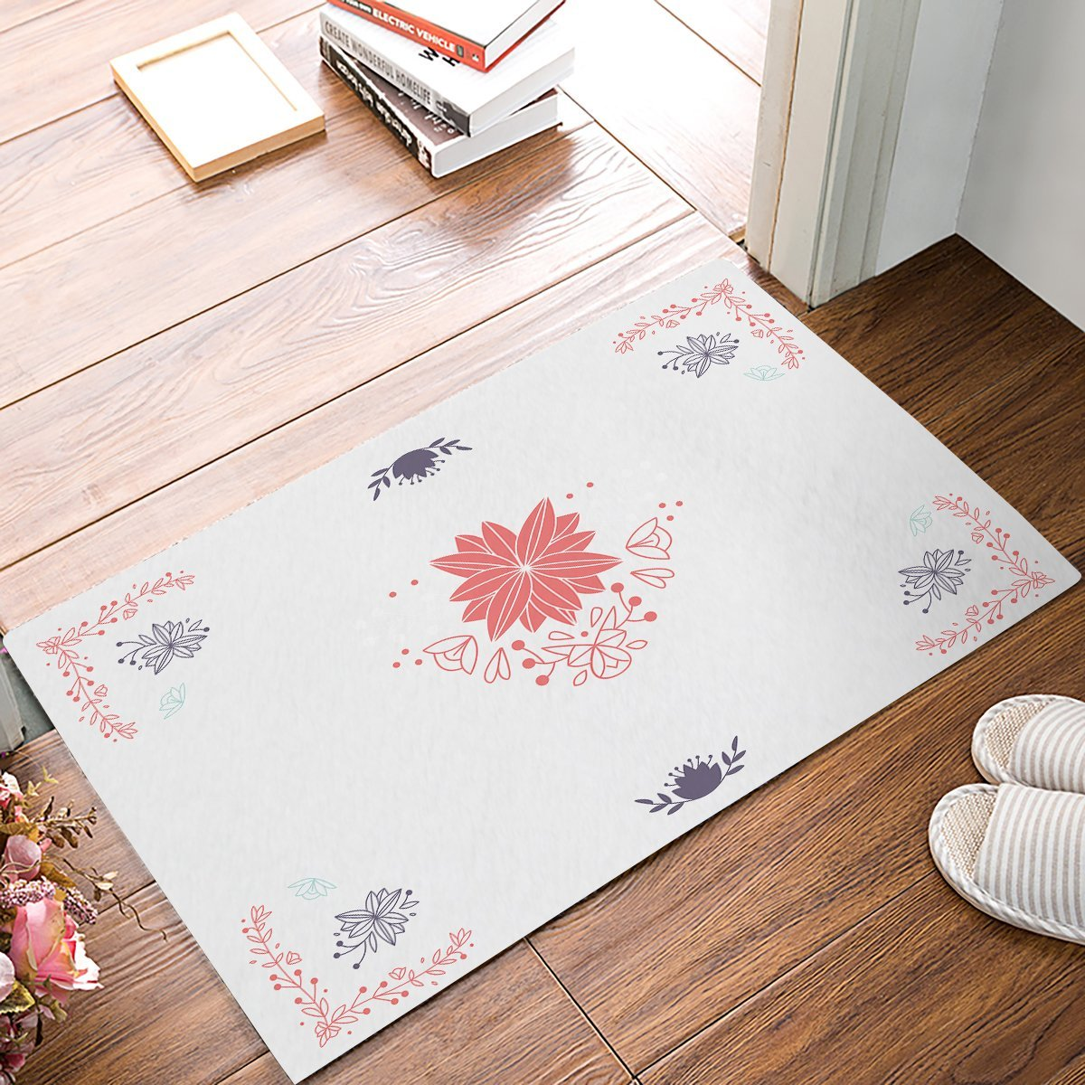 Simple Vintage Floral Print Light Pink Door Mats Kitchen Floor Bath Entrance Rug Mat Absorbent Indoor Bathroom