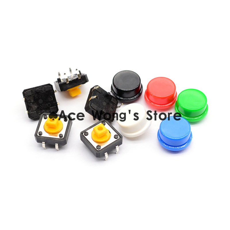 Free shipping,100PCS Tactile Push Button Switch Momentary 12*12*7.3MM Micro switch button + (5 colors * 20pcs =100pcs  Tact Cap) 50pcs lot 6x6x4 3mm 4pin smt g88 tactile tact push button micro switch self reset dip top copper free shipping