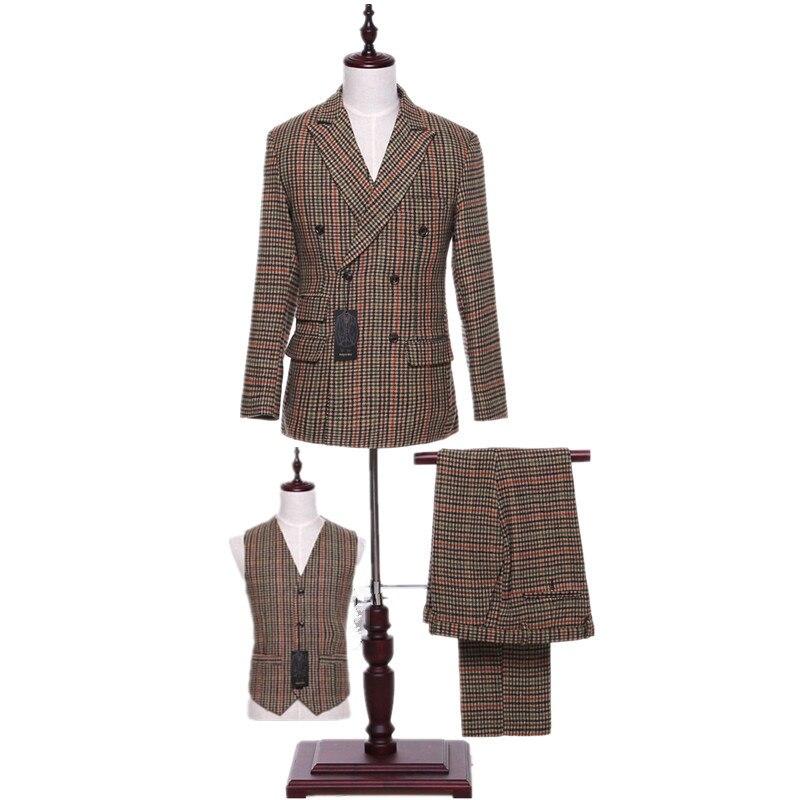 Пиджак + брюки + жилет женские деловые костюмы Клетчатые Шерстяные смешанные женские офисные форменные женские 3 шт. брюки костюмы на заказ