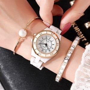 Image 2 - GEDI Fashion White Ceramics Women Watches Top Luxury Brand Ladies Quartz Watch 3 Pieces Bracelet Watch Relogio Feminino Hodinky