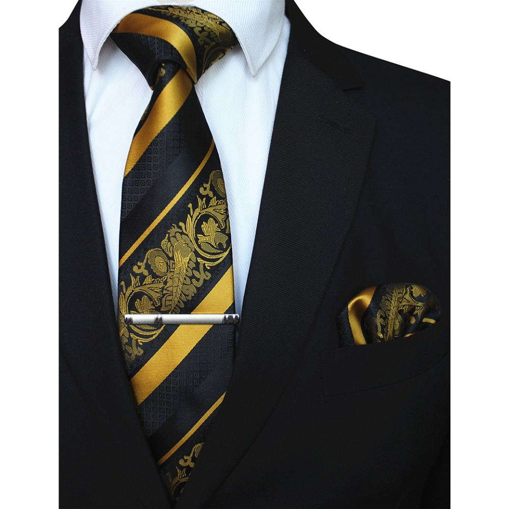 RBOCOTT 3PCS Men's Floral Tie Handkerchief Set Yellow Striped 8cm Necktie Pocket Square Tie Clip Red For Men Wedding Accessories